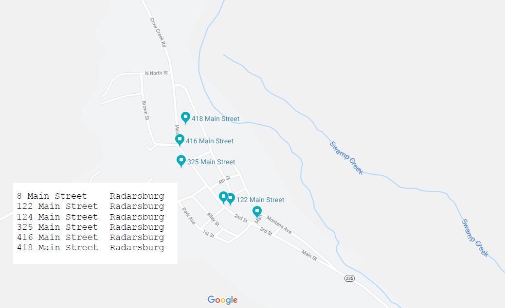 2019 Broadwater County-Wide Yard Sale Google Earth Map | Missouri